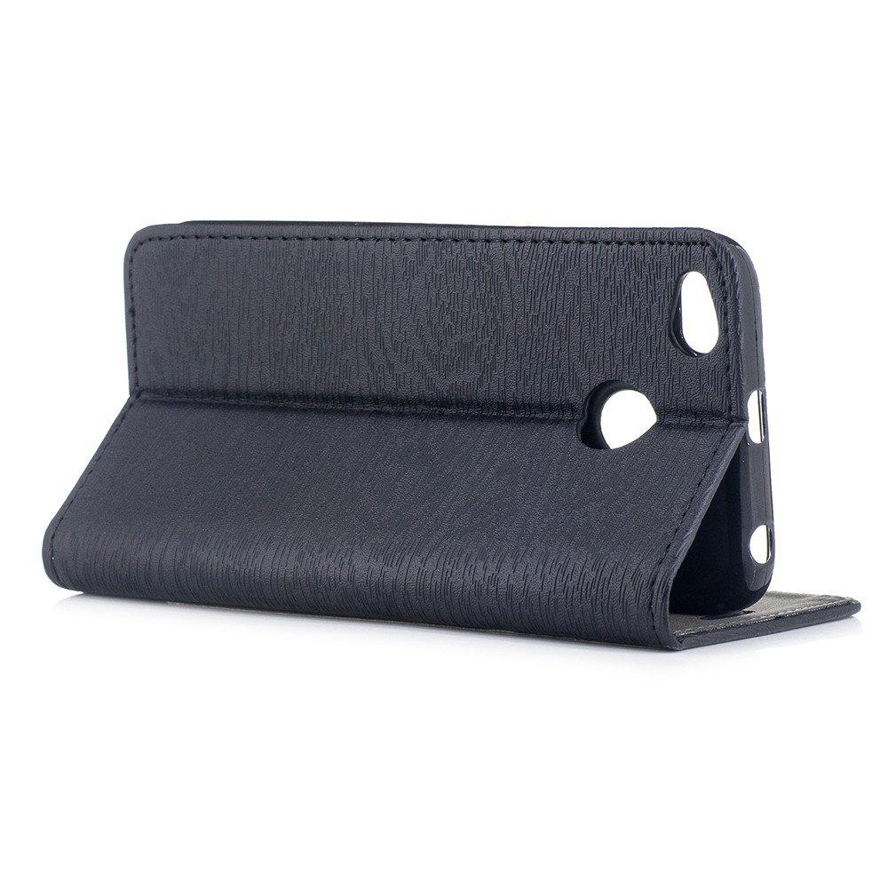 Cover Case for Xiaomi Redmi 4X Card Holder with Stand Flip Full Body Lines / Waves Hard PU Leather - BLACK