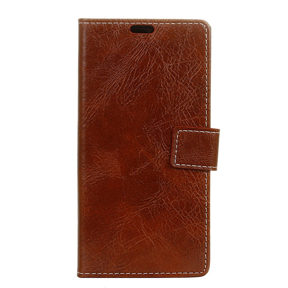 Cover Case For BQ Aquaris U2 Lite Genuine Quality Retro Style Crazy Horse Pattern Flip PU Leather Wallet Case - BROWN