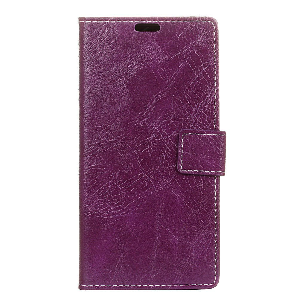 Cover Case For BQ Aquaris U2 Lite Genuine Quality Retro Style Crazy Horse Pattern Flip PU Leather Wallet Case - PURPLE