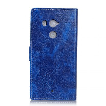 Cover Case For HTC U11 Plus Genuine Quality Retro Style Crazy Horse Pattern Flip PU Leather Wallet Case for HTC U11 Plus - BLUE