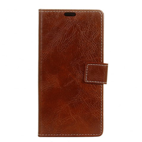 Cover Case For Sony Xperia XA1 Plus Genuine Quality Retro Style Crazy Horse Pattern Flip PU Leather Wallet Case - BROWN