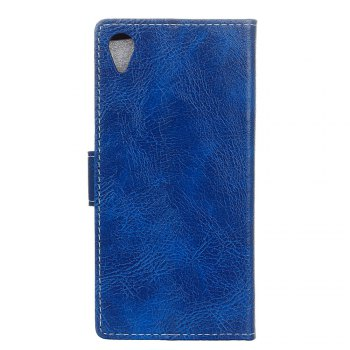 Cover Case For Sony Xperia XA1 Plus Genuine Quality Retro Style Crazy Horse Pattern Flip PU Leather Wallet Case - BLUE