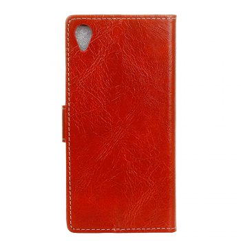 Cover Case For Sony Xperia XA1 Plus Genuine Quality Retro Style Crazy Horse Pattern Flip PU Leather Wallet Case - RED
