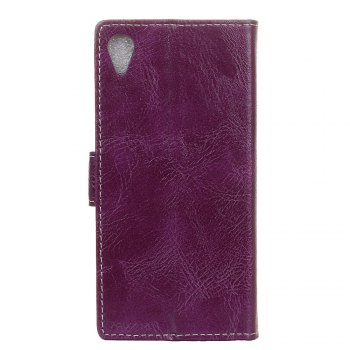 Cover Case For Sony Xperia XA1 Plus Genuine Quality Retro Style Crazy Horse Pattern Flip PU Leather Wallet Case - PURPLE
