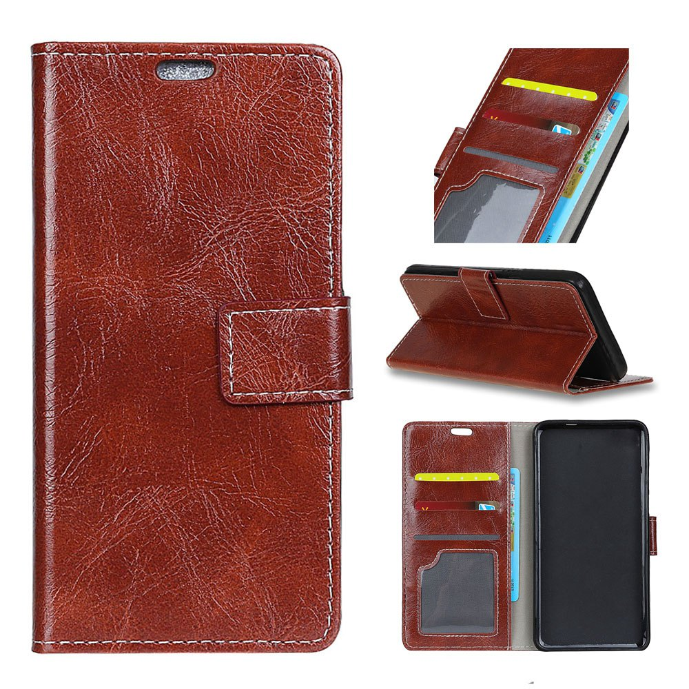 Cover Case For Alcatel Idol A7 Genuine Quality Retro Style Crazy Horse Pattern Flip PU Leather Wallet Case - BROWN