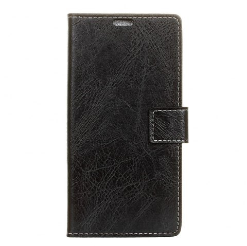 Cover Case For Doogee BL5000 Genuine Quality Retro Style Crazy Horse Pattern Flip PU Leather Wallet Case - BLACK