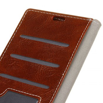 Cover Case For Doogee BL5000 Genuine Quality Retro Style Crazy Horse Pattern Flip PU Leather Wallet Case - BROWN