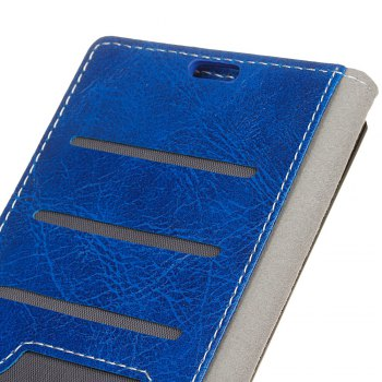 Cover Case For Doogee BL5000 Genuine Quality Retro Style Crazy Horse Pattern Flip PU Leather Wallet Case - BLUE