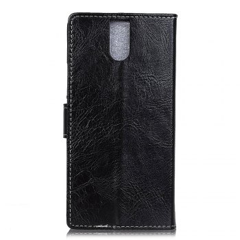 Cover Case For Doogee BL7000 Genuine Quality Retro Style Crazy Horse Pattern Flip PU Leather Wallet Case - BLACK