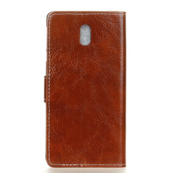 Cover Case For Meizu M6 Genuine Quality Retro Style Crazy Horse Pattern Flip PU Leather Wallet Case - BROWN