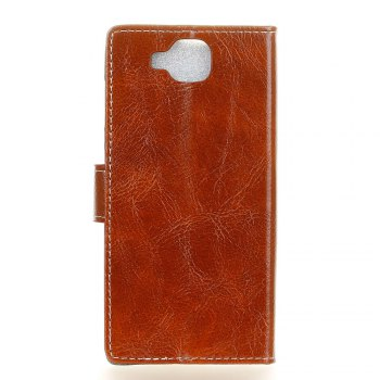 Cover Case For Xiaomi Mi Mix 2 Genuine Quality Retro Style Crazy Horse Pattern Flip PU Leather Wallet Case - BROWN