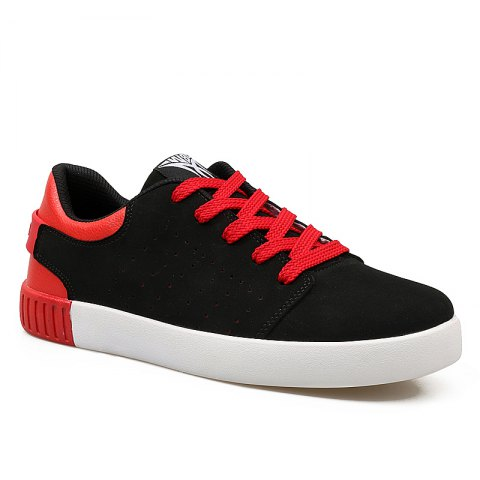 Men's Sneakers Lace Up Wearable Stylish Breathable Casual Sports Shoes - BLACK/RED 40