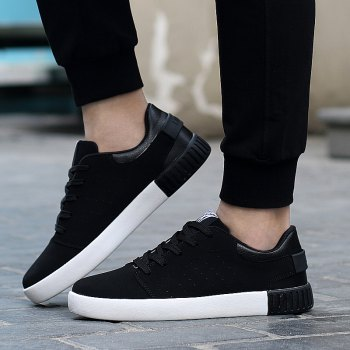 Men's Sneakers Lace Up Wearable Stylish Breathable Casual Sports Shoes - BLACK 40
