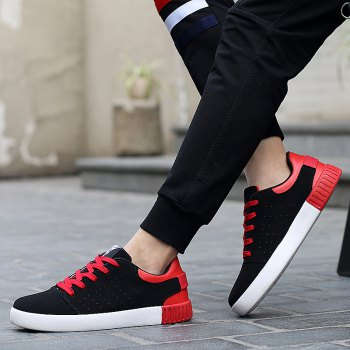 Men's Sneakers Lace Up Wearable Stylish Breathable Casual Sports Shoes - BLACK/RED 43