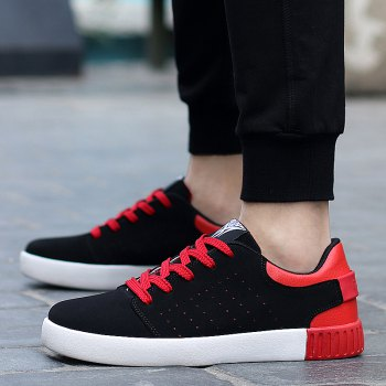 Men's Sneakers Lace Up Wearable Stylish Breathable Casual Sports Shoes - BLACK/RED 44