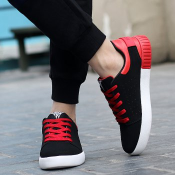 Men's Sneakers Lace Up Wearable Stylish Breathable Casual Sports Shoes - BLACK/RED 42