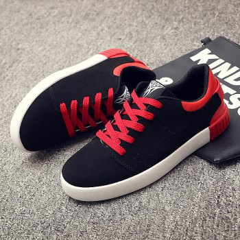 Men's Sneakers Lace Up Wearable Stylish Breathable Casual Sports Shoes - BLACK/RED 39