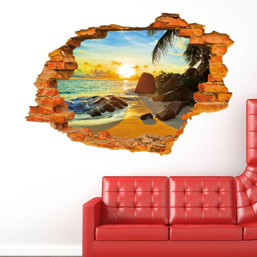 цены Sunshine Beach Sea Sun Tree Resort 3D Window View  Wall Stickers  Art Decal Sofa Wall Landscape Decoration