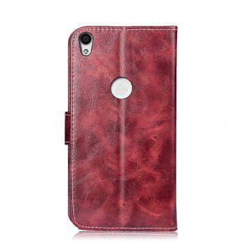 Leather Case for Alcatel Shine Lite 5080X Flip Cover 5.0 inch Retro Phone Bags Luxury Wallet Cases - WINE RED