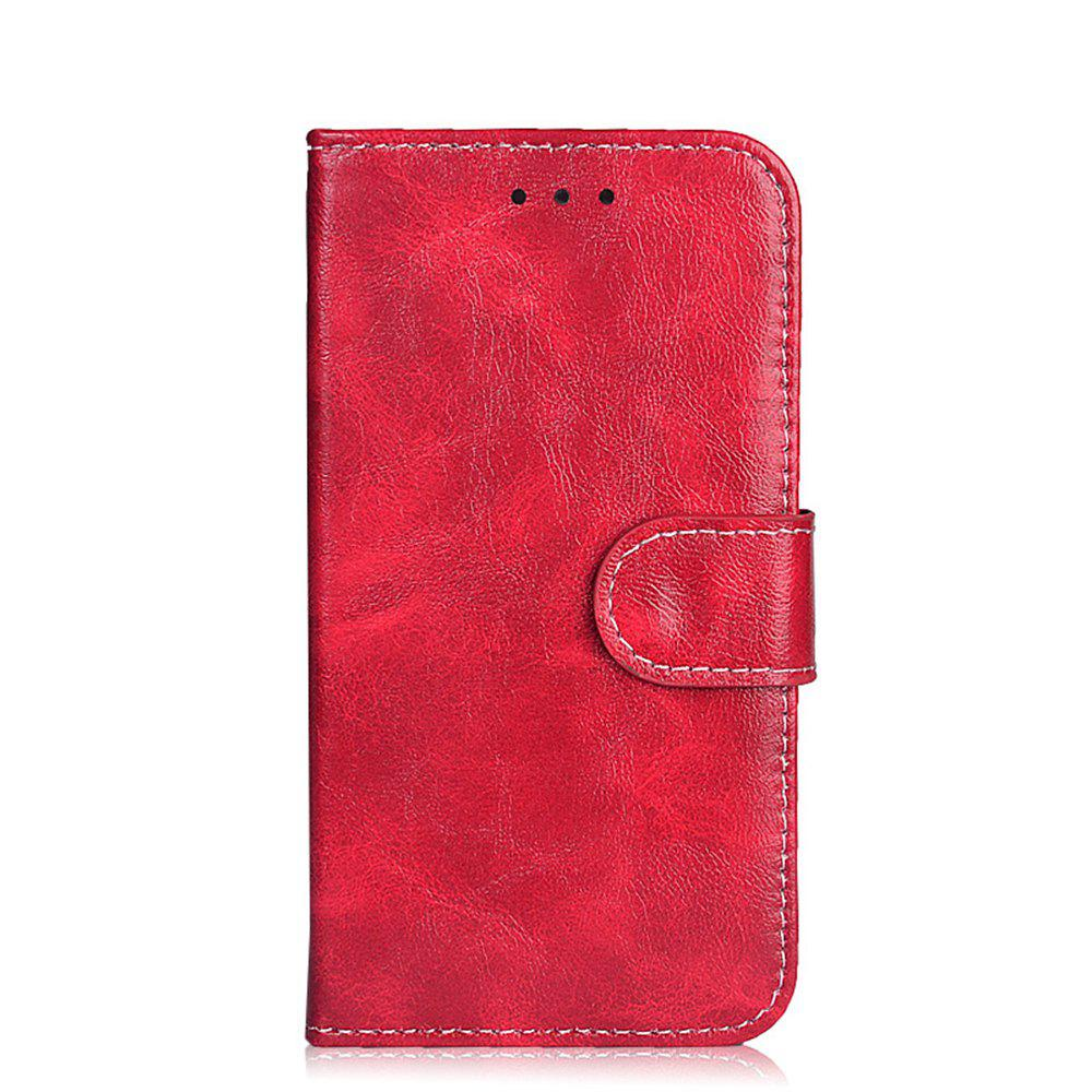Leather Case for Alcatel Shine Lite 5080X Flip Cover 5.0 inch Retro Phone Bags Luxury Wallet Cases - RED