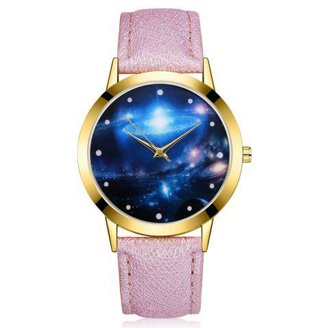 GAIETY G377 Women's Leather Strap Space Dial Dress Watch - PURPLE