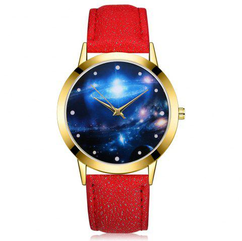GAIETY G377 Women's Leather Strap Space Dial Dress Watch - RED