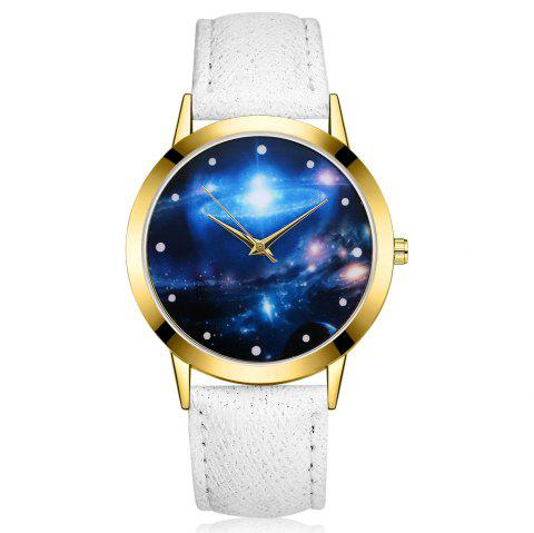 GAIETY G377 Women's Leather Strap Space Dial Dress Watch - WHITE
