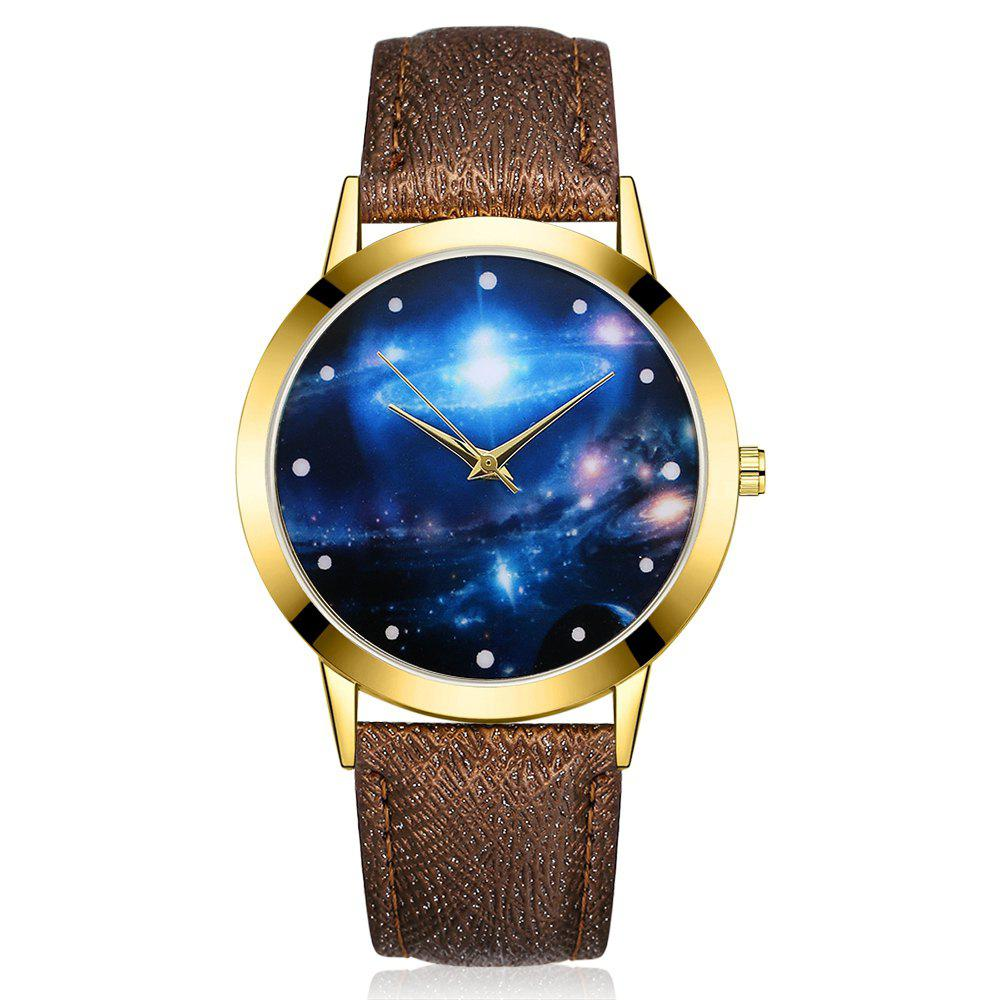 GAIETY G377 Women's Leather Strap Space Dial Dress Watch - COFFEE