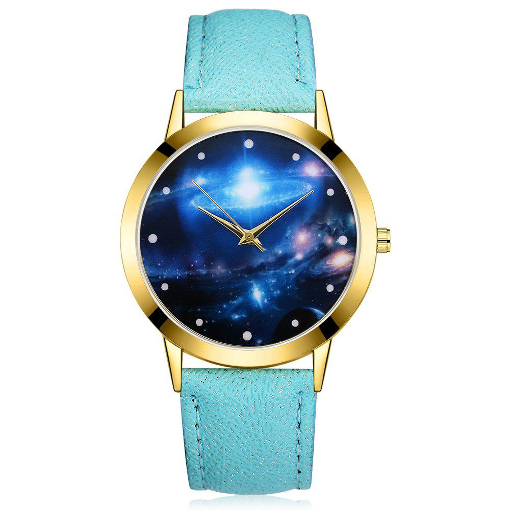 GAIETY G377 Women's Leather Strap Space Dial Dress Watch - SKY BLUE