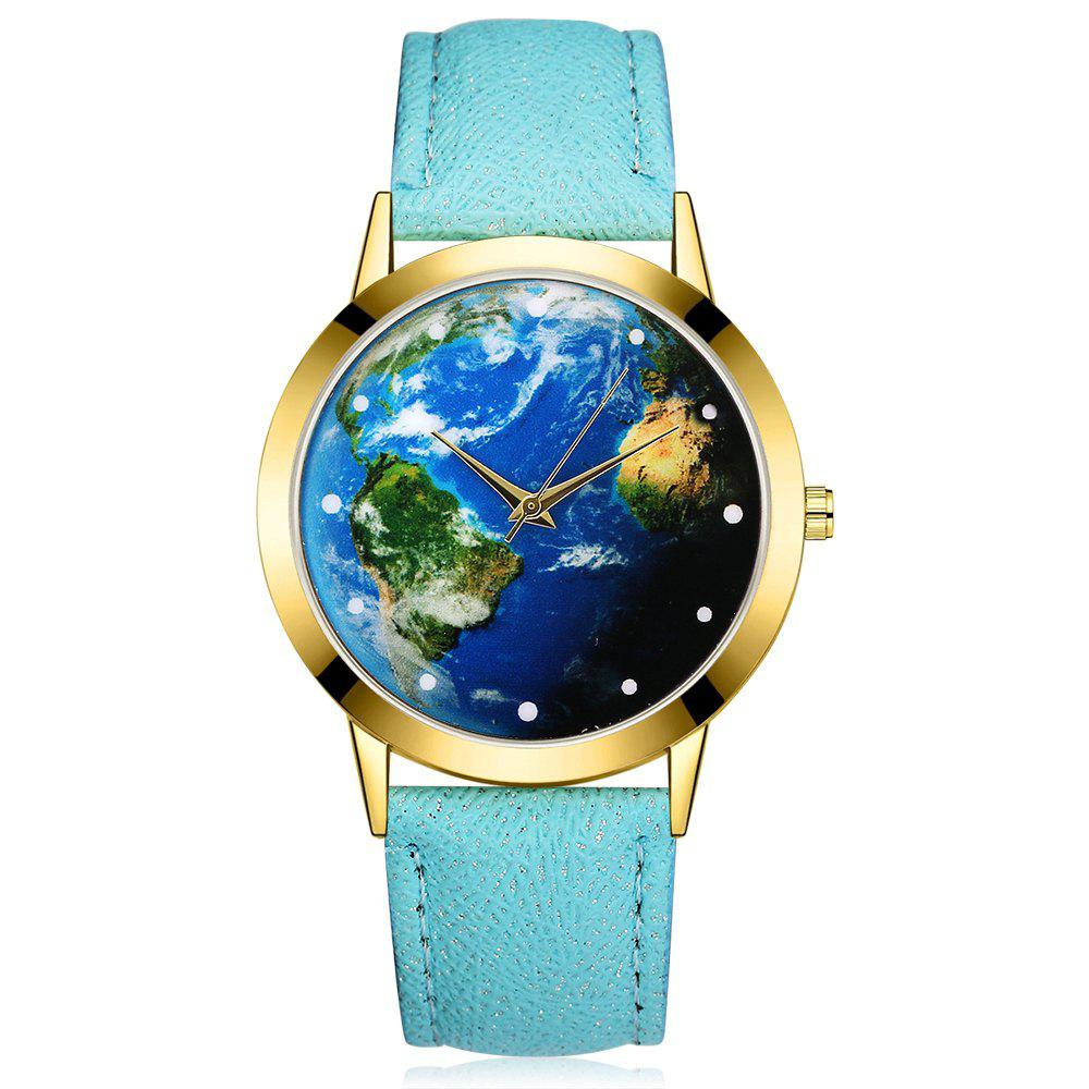 GAIETY G375 Women's Earth Dial Leather Strap Quartz Watch - SKY BLUE