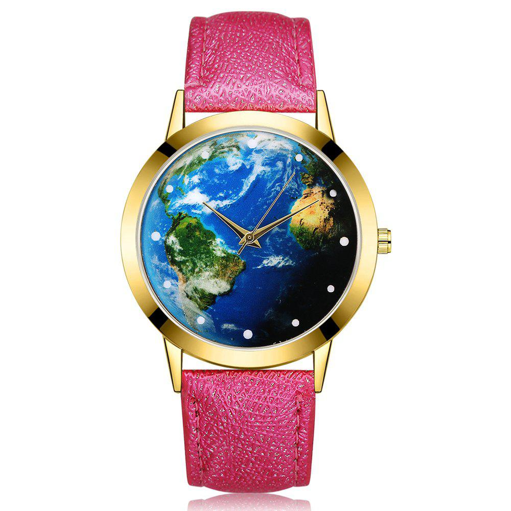 GAIETY G375 Women's Earth Dial Leather Strap Quartz Watch - ROSE RED