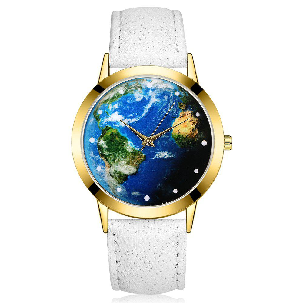 GAIETY G375 Women's Earth Dial Leather Strap Quartz Watch - WHITE