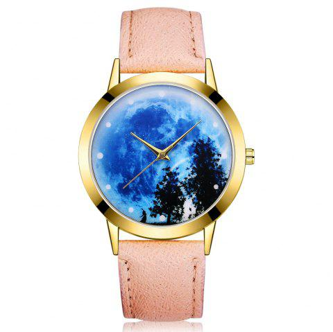 GAIETY G373 Women's Sky Face Leather Band Dress Watch - APRICOT
