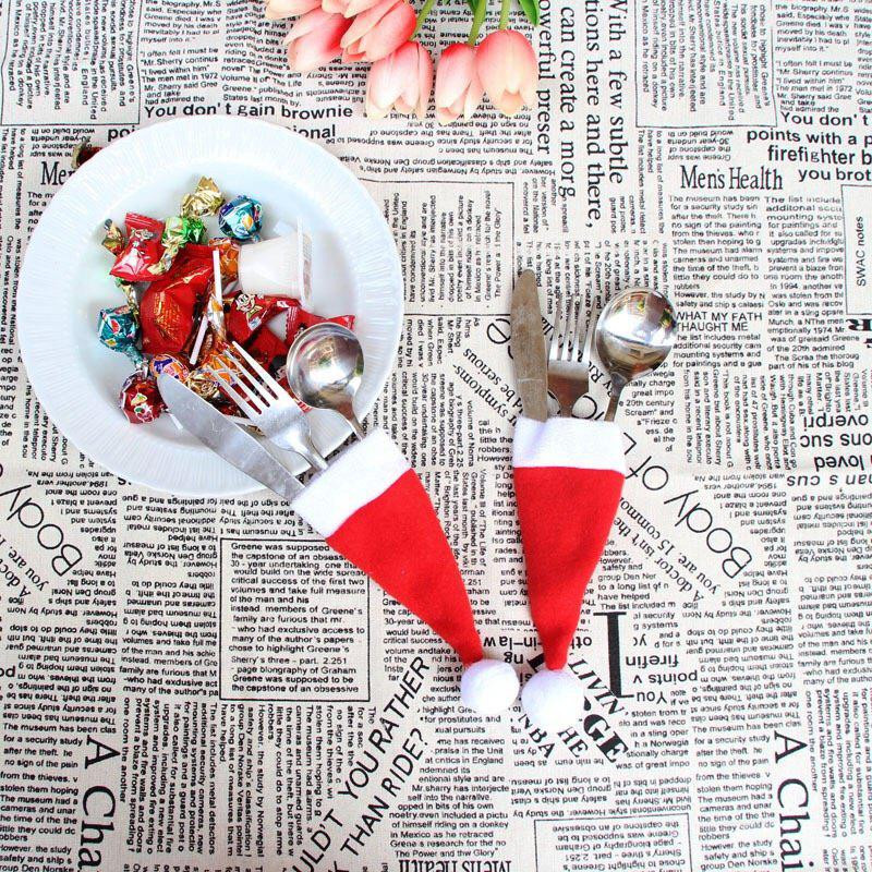 10PCS Christmas Decorative tableware Knife Fork Set Christmas Hat Storage Tool Wonderful - RED