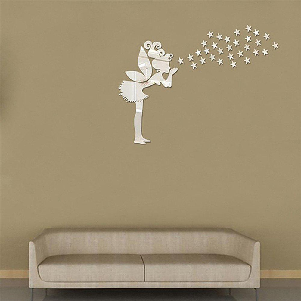 Acrylic Mirror Wall Stickers Fairy Shape Mural Decals   SILVER