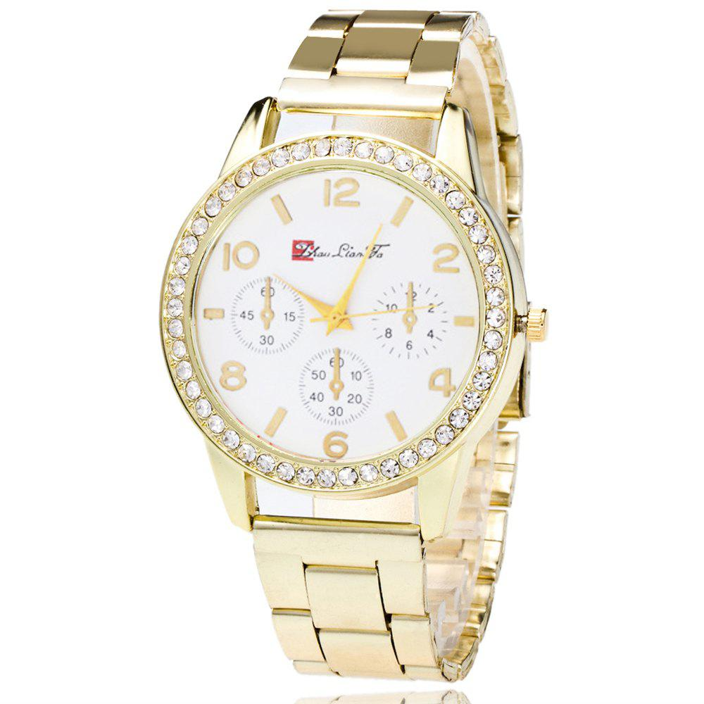 ZhouLianFa Classic Three-Eyes Casual Watch Diamond Business Watch Gold Steel Strap with Gift Box - GOLDEN