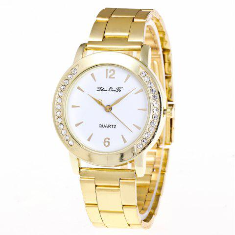 ZhouLianFa Fashionable and Casual Watches with Diamonds on Both Sides Business Watch Gold Steel Strap with Gift Box - GOLDEN