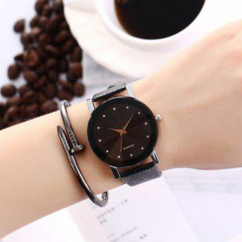 ZhouLianFa Famous Brand Black Leather Classic Color A Pair Couple Watch Women Men Fashion Clock1 -  BLACK