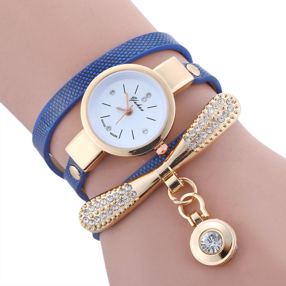 Yakoo Women Rhinestone Lady Dress Diamond Luxury Bracelet Wristwatch - BLUE