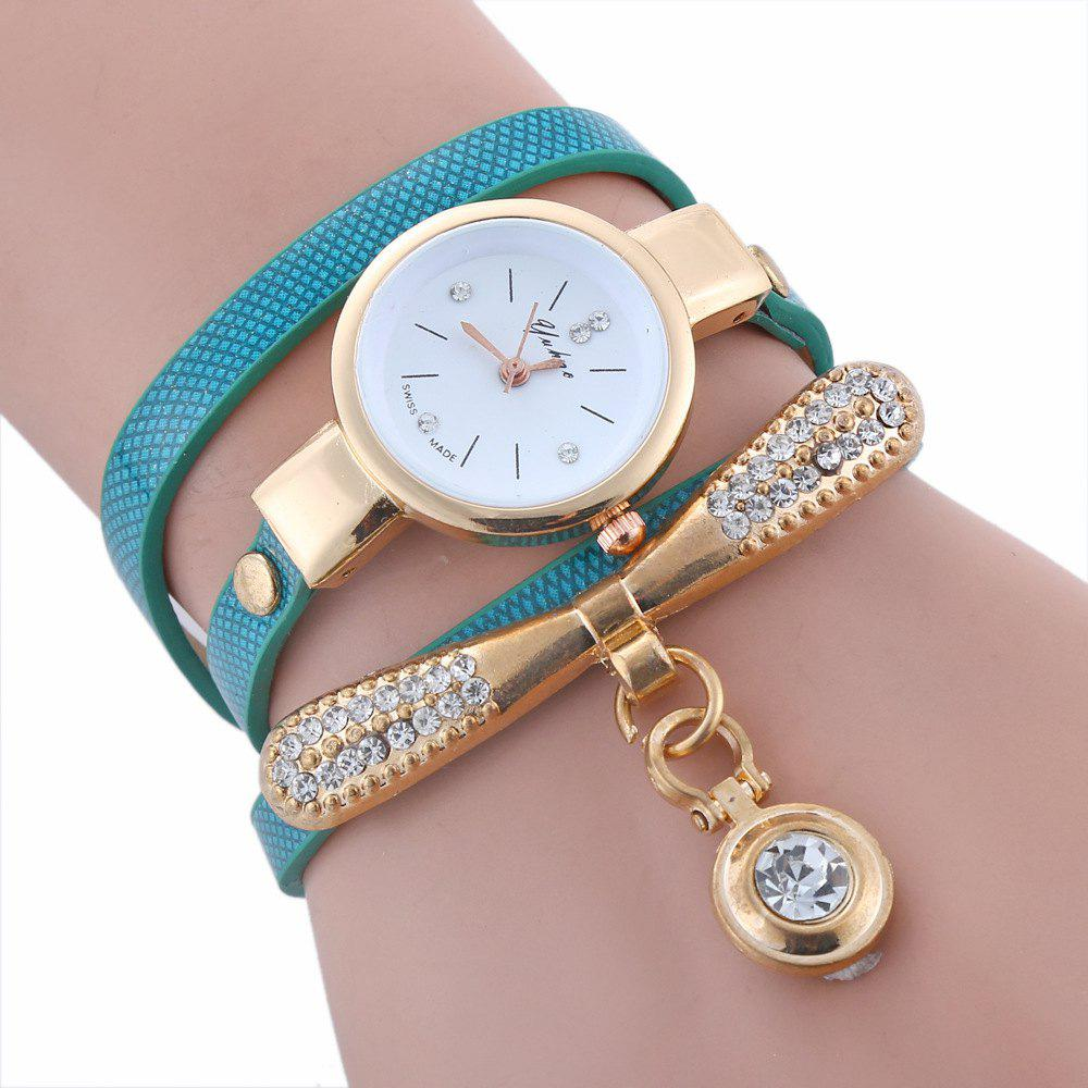 Yakoo Women Rhinestone Lady Dress Diamond Luxury Bracelet Wristwatch - GREEN