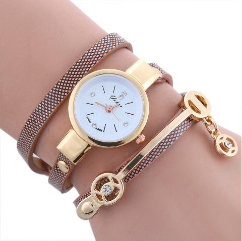 Yakoo Women Diamond Bracelet Watch Female Rose Gold Silver Dress Watch Lady Rhinestone Wristwatches - BROWN
