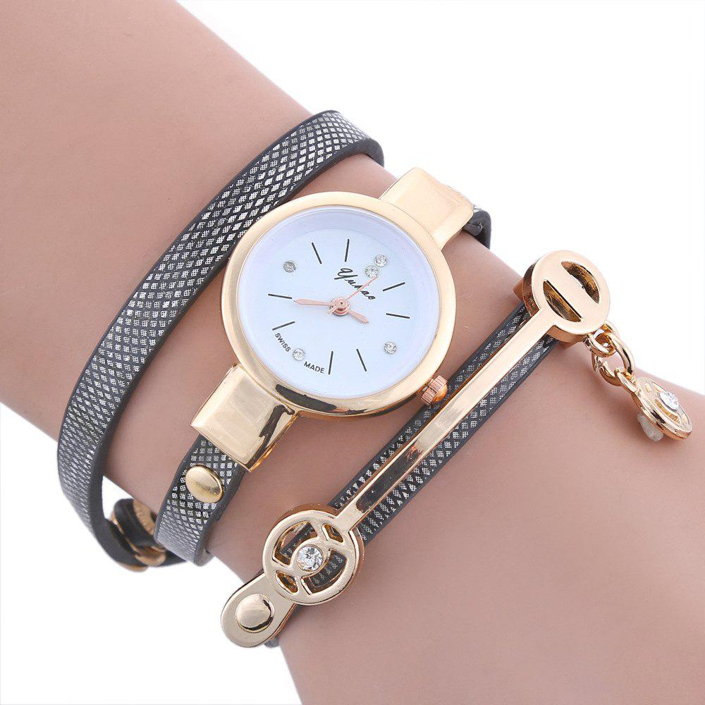 Yakoo Women Diamond Bracelet Watch Female Rose Gold Silver Dress Watch Lady Rhinestone Wristwatches - BLACK