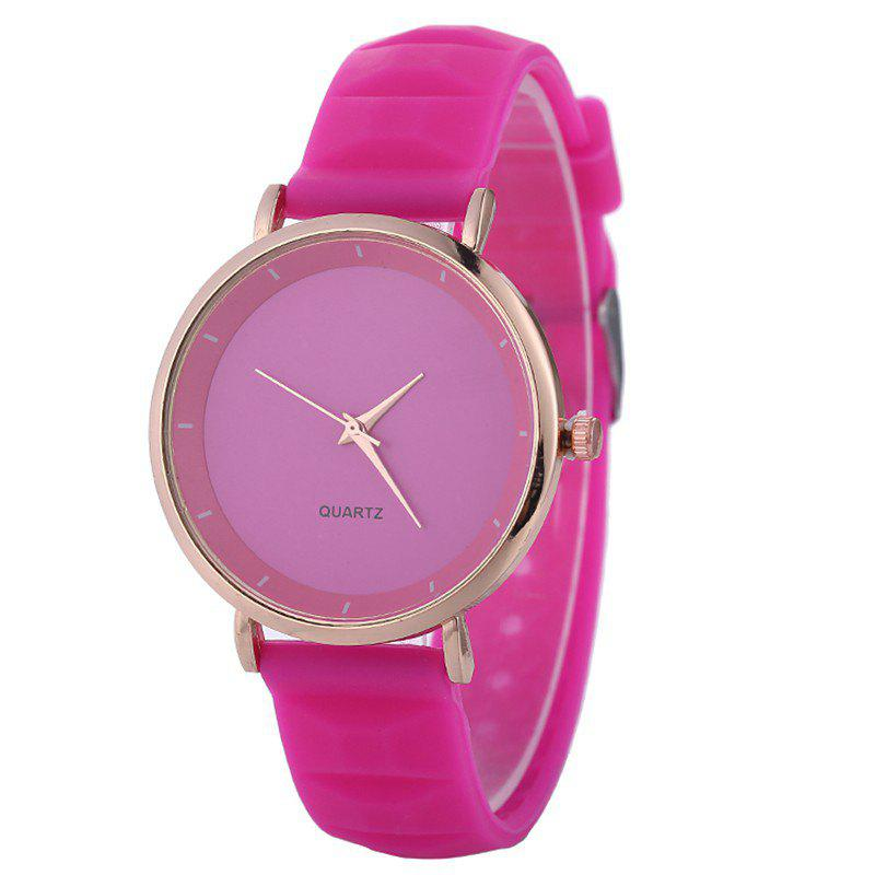 REEBONZ Lady Silicone Fashion Simple Quartz Wrist Watch - ROSE RED