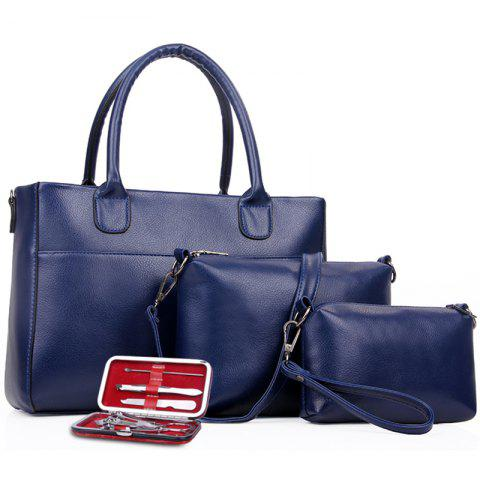 Retro Nutcracker Four Pieces Shoulder Messenger Bag Handbag - BLUE