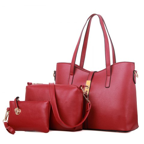 Three Pieces Handbag Fashion Bag Messenger Bag Simple Messenger Shoulder Bag - RED