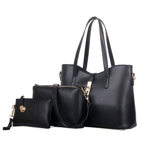 Three Pieces Handbag Fashion Bag Messenger Bag Simple Messenger Shoulder Bag - BLACK