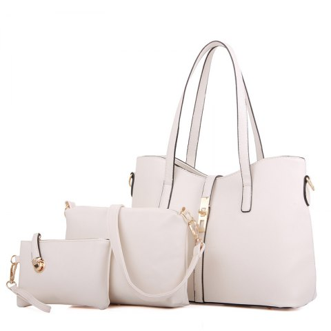 Three Pieces Handbag Fashion Bag Messenger Bag Simple Messenger Shoulder Bag - WHITE