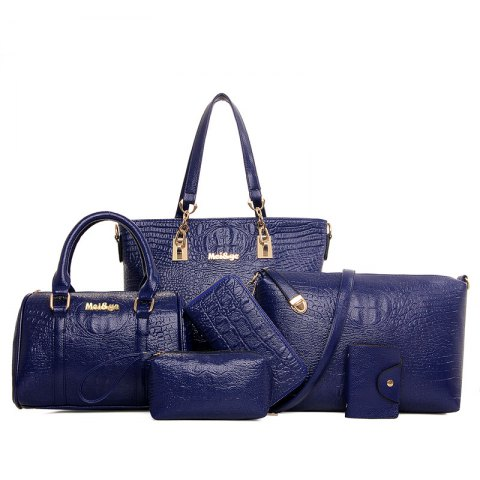 Fashion Pattern Shoulder Hand Bag Messenger Bag Six Pieces - BLUE