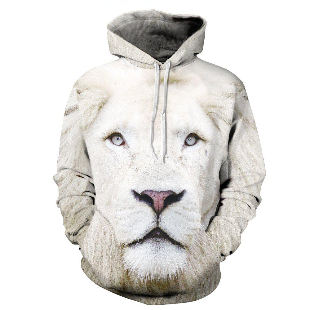 Men Women Realistic 3D Digital Graphic Print White Lion Hoodie men without women