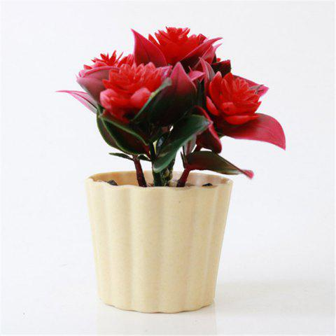 New Arrival Mini Round Simulation Plants Flowers Vase Small Bonsai Pot Artificial Plants Flowerpots Indoor Mini Potted N - RED